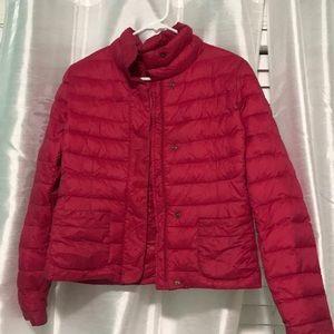 Red winter puffer coat